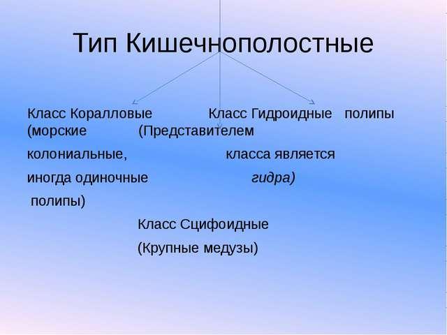Тип Кишечнополостные Класс Коралловые Класс Гидроидные полипы (морские (Предс...
