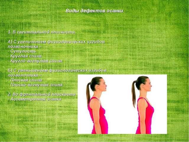 Виды дефектов осанки. 1. В сагиттальной плоскости: А) С увеличением физиологи...
