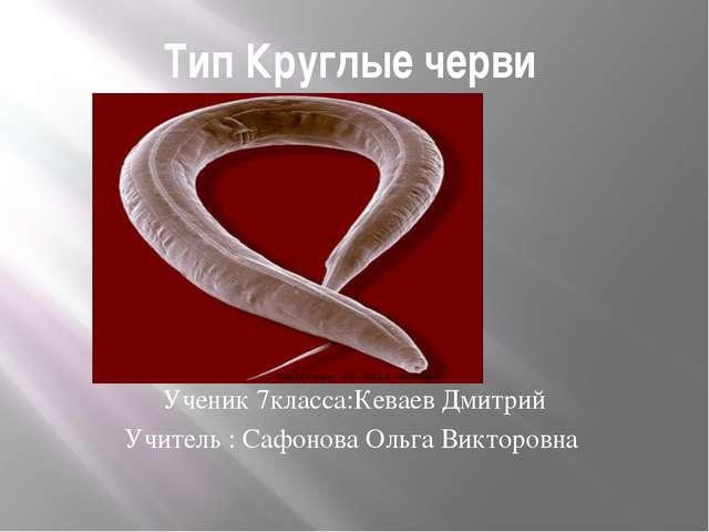 Тип Круглые черви Ученик 7класса:Кеваев Дмитрий Учитель : Сафонова Ольга Викт...