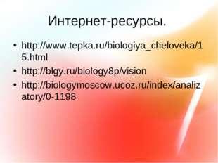Интернет-ресурсы. http://www.tepka.ru/biologiya_cheloveka/15.html http://blgy