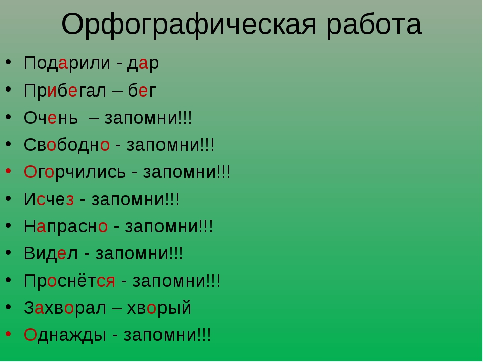 Орфографическая работа Подарили - дар Прибегал – бег Очень – запомни!!! Свобо...