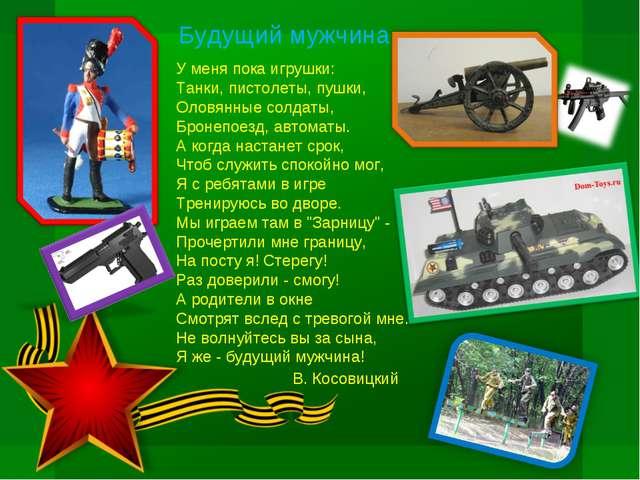 У меня пока игрушки: Танки, пистолеты, пушки, Оловянные солдаты, Бронепоезд,...