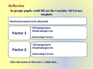 Reflection In groups pupils could fill out the Consider All Factors template