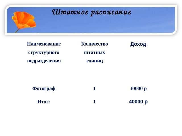Штатное расписание Наименование структурного подразделения Количество штатных...