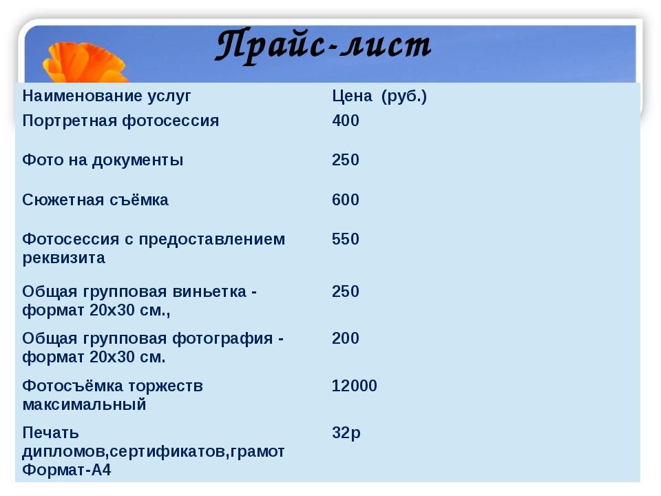 Прайс-лист Наименование услуг Цена (руб.) Портретнаяфотосессия 400 Фото на до...
