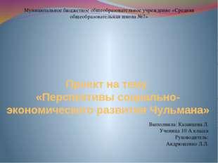 Проект на тему «Перспективы социально-экономического развития Чульмана» Муниц