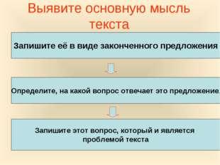 Выявите основную мысль текста Запишите её в виде законченного предложения Опр