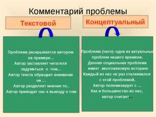 Комментарий проблемы Текстовой Концептуальный Проблема раскрывается автором н