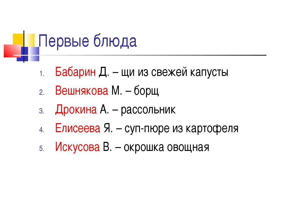 Первые блюда Бабарин Д. – щи из свежей капусты Вешнякова М. – борщ Дрокина А....