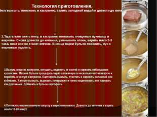 Технология приготовления. 1.Мясо вымыть, положить в кастрюлю, залить холодной