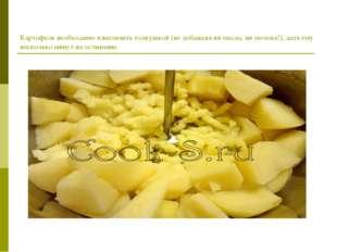 Картофель необходимо измельчить толкушкой (не добавляя ни масла, ни молока!),