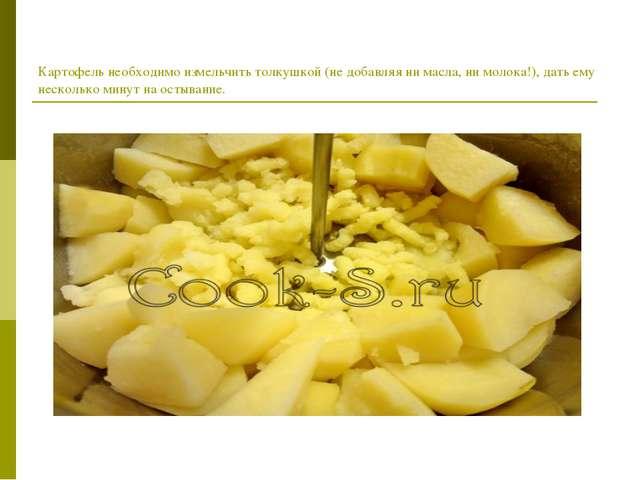 Картофель необходимо измельчить толкушкой (не добавляя ни масла, ни молока!),...
