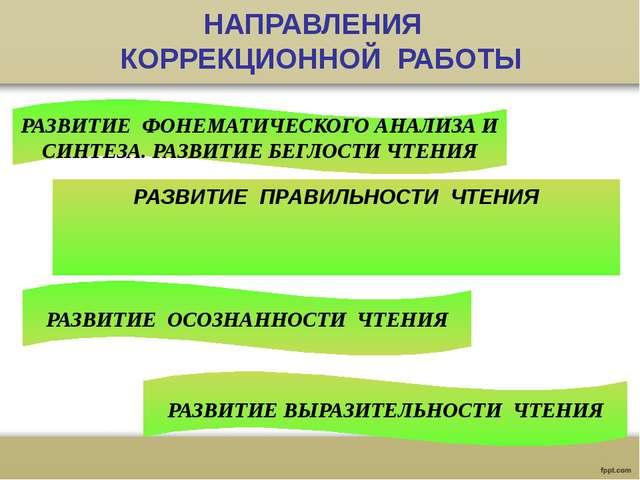 НАПРАВЛЕНИЯ КОРРЕКЦИОННОЙ РАБОТЫ РАЗВИТИЕ ФОНЕМАТИЧЕСКОГО АНАЛИЗА И СИНТЕЗА....