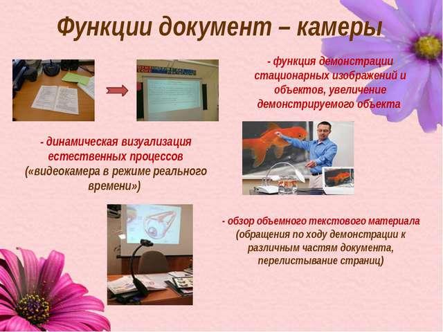 Функции документ – камеры - функция демонстрации стационарных изображений и о...