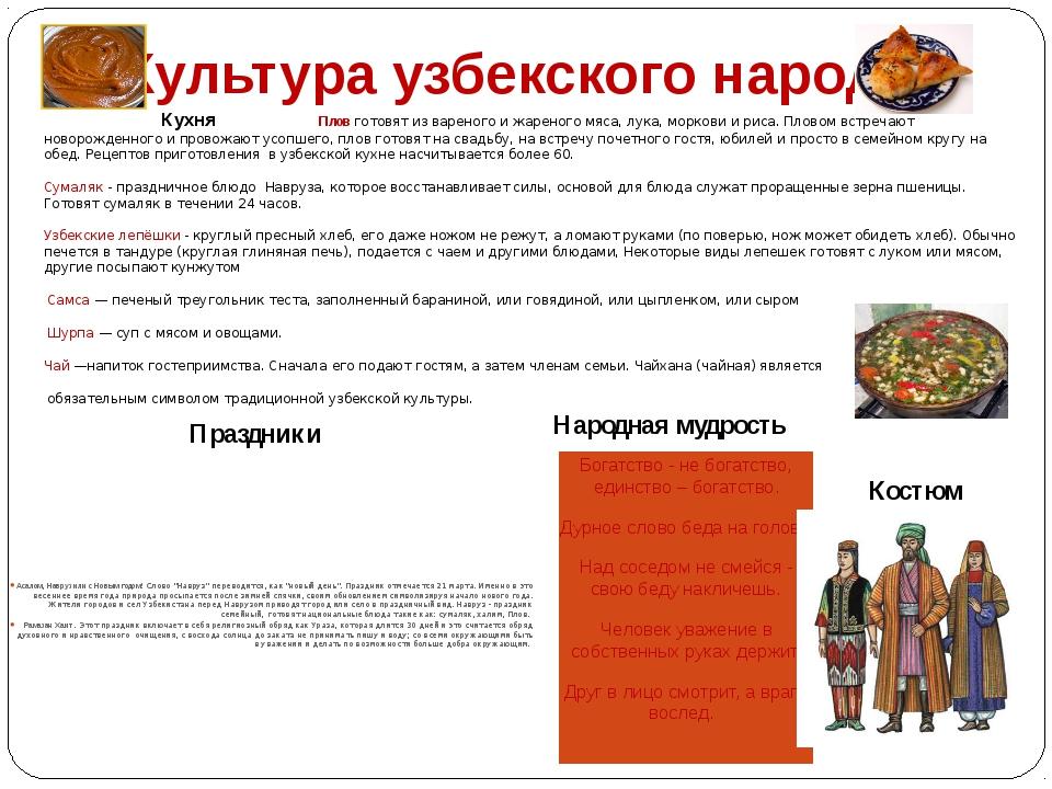 Культура узбекского народа Кухня Плов готовят из вареного и жареного мяса, лу...