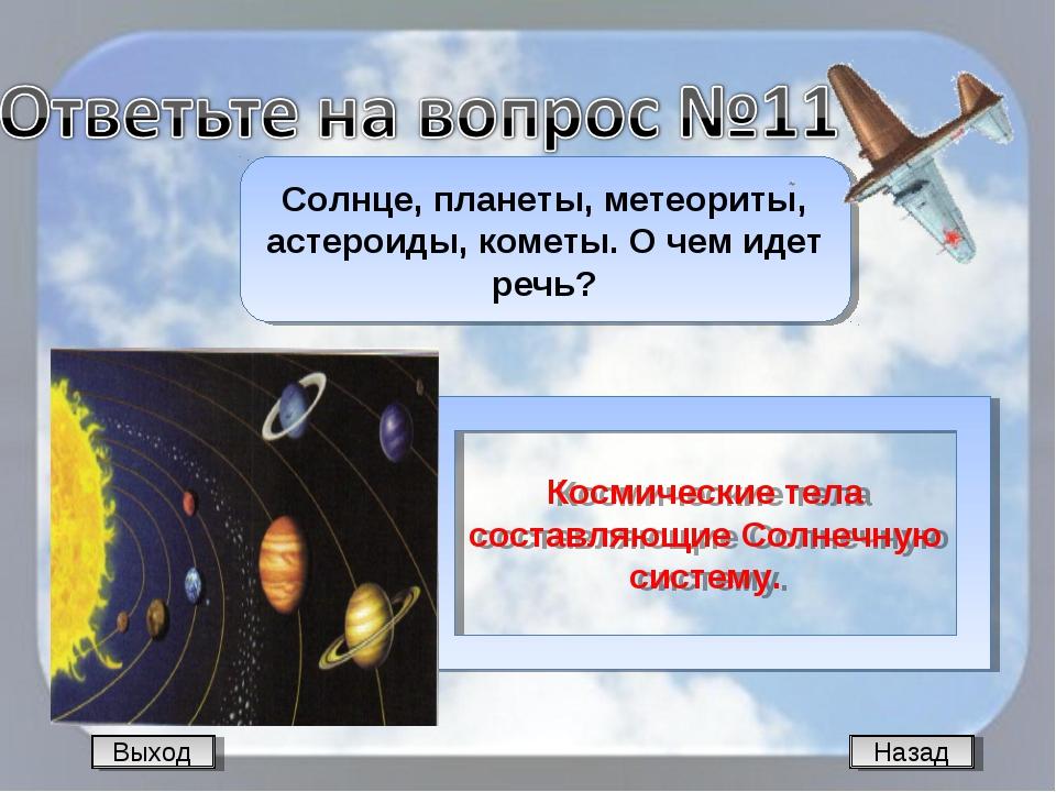 Назад Солнце, планеты, метеориты, астероиды, кометы. О чем идет речь? Космиче...