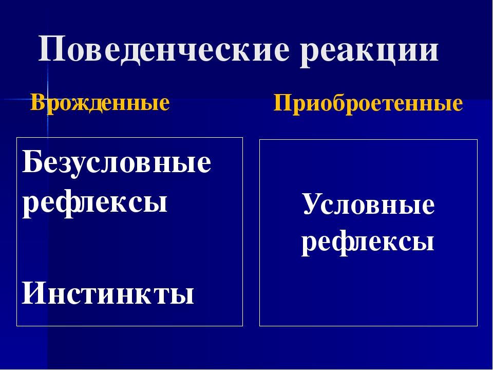 Поведенческие реакции Врожденные Безусловные рефлексы Инстинкты Приоброетенны...