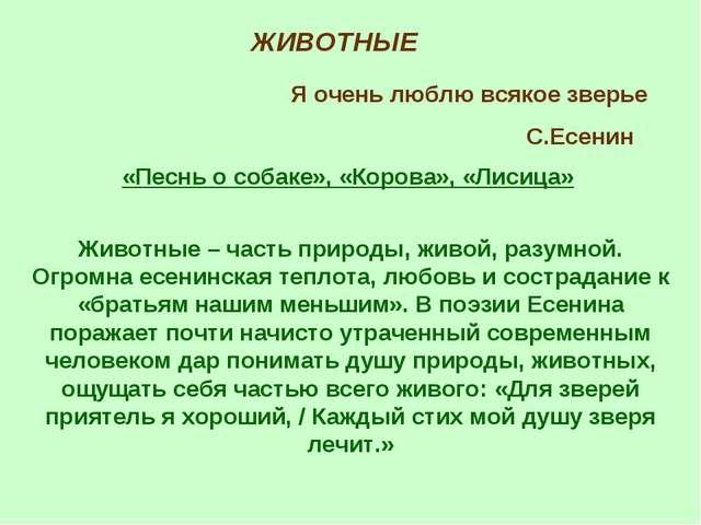ЖИВОТНЫЕ Я очень люблю всякое зверье С.Есенин «Песнь о собаке», «Корова», «Ли...