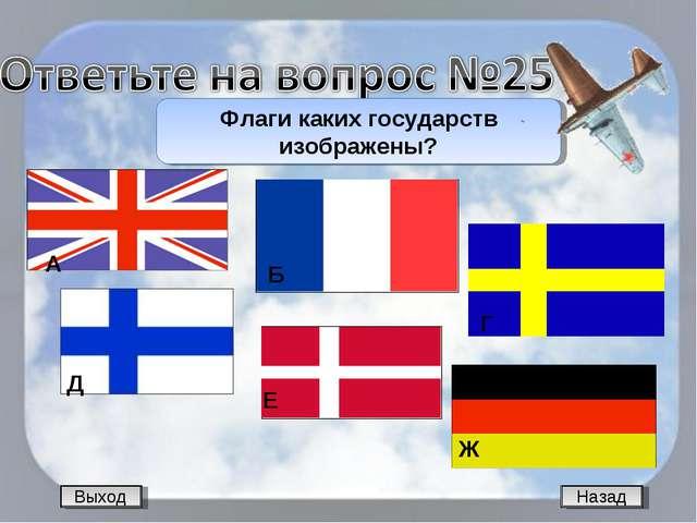Назад Флаги каких государств изображены? Выход А Б Г Д Е Ж