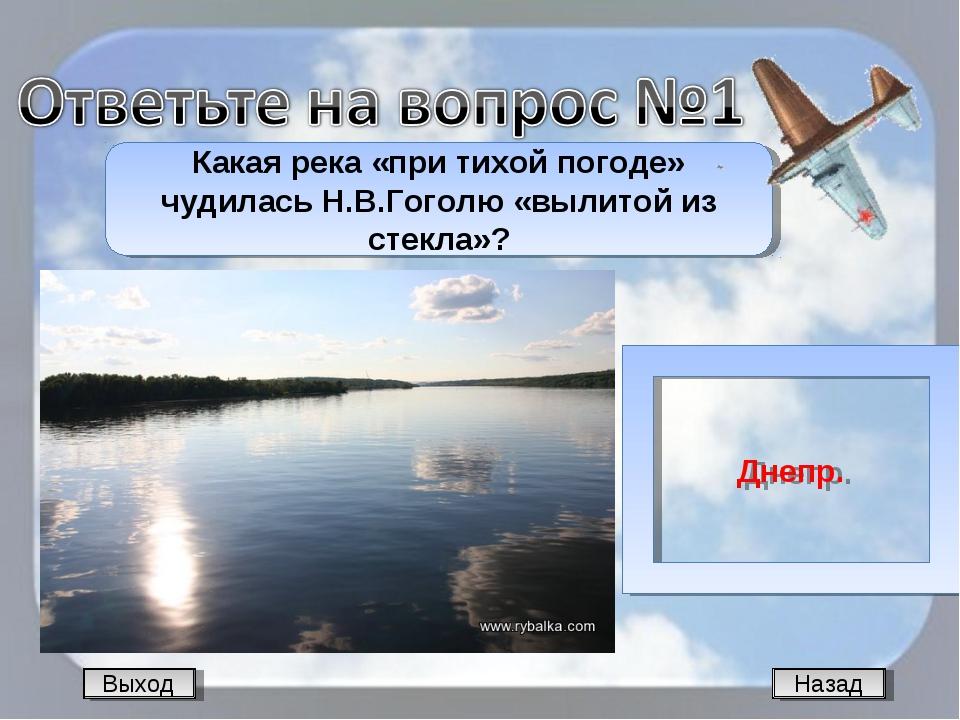 Назад Какая река «при тихой погоде» чудилась Н.В.Гоголю «вылитой из стекла»?...