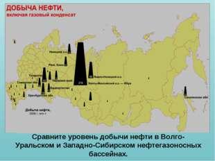 Сравните уровень добычи нефти в Волго-Уральском и Западно-Сибирском нефтегазо