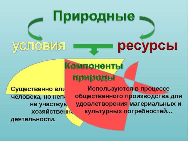 Существенно влияют на жизнь человека, но непосредственно не участвуют в его...
