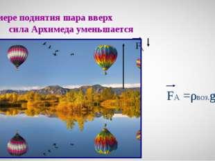По мере поднятия шара вверх сила Архимеда уменьшается FА FА =ρвоз.gV
