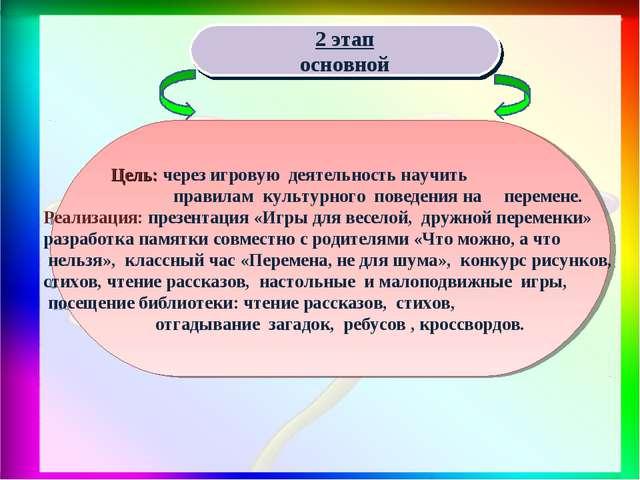 2 этап основной Цель: через игровую деятельность научить правилам культурног...