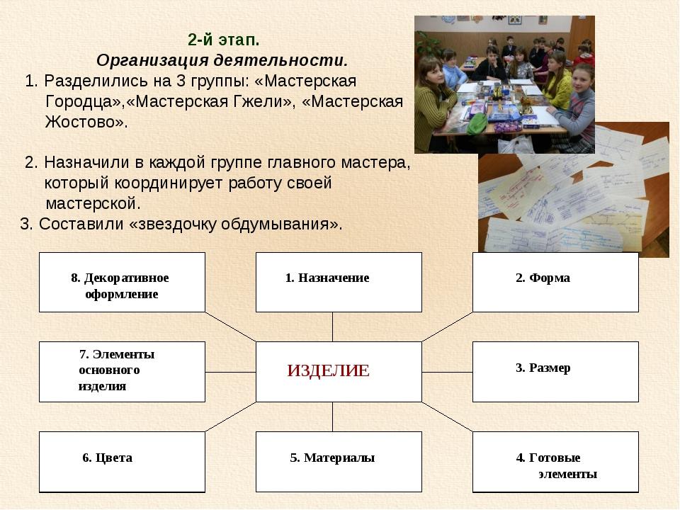 2-й этап. Организация деятельности. 1. Разделились на 3 группы: «Мастерская Г...
