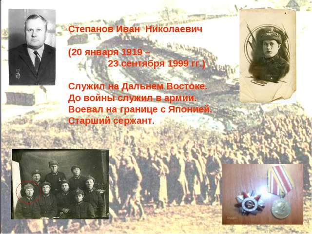 Степанов Иван Николаевич (20 января 1919 – 23 сентября 1999 гг.) Служил на Да...