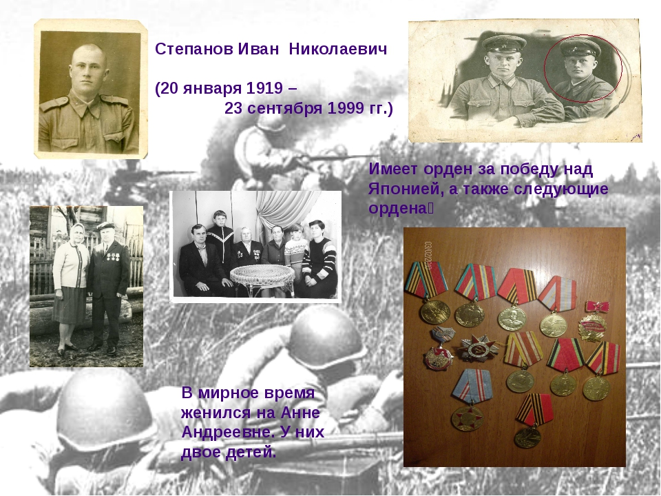Имеет орден за победу над Японией, а также следующие ордена׃ Степанов Иван Ни...