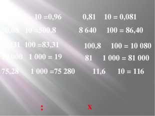 9,6 10 =0,96 50,08 10 =500,8 8331 100 =83,31 19 000 1 000 = 19 75,28 1 000 =7