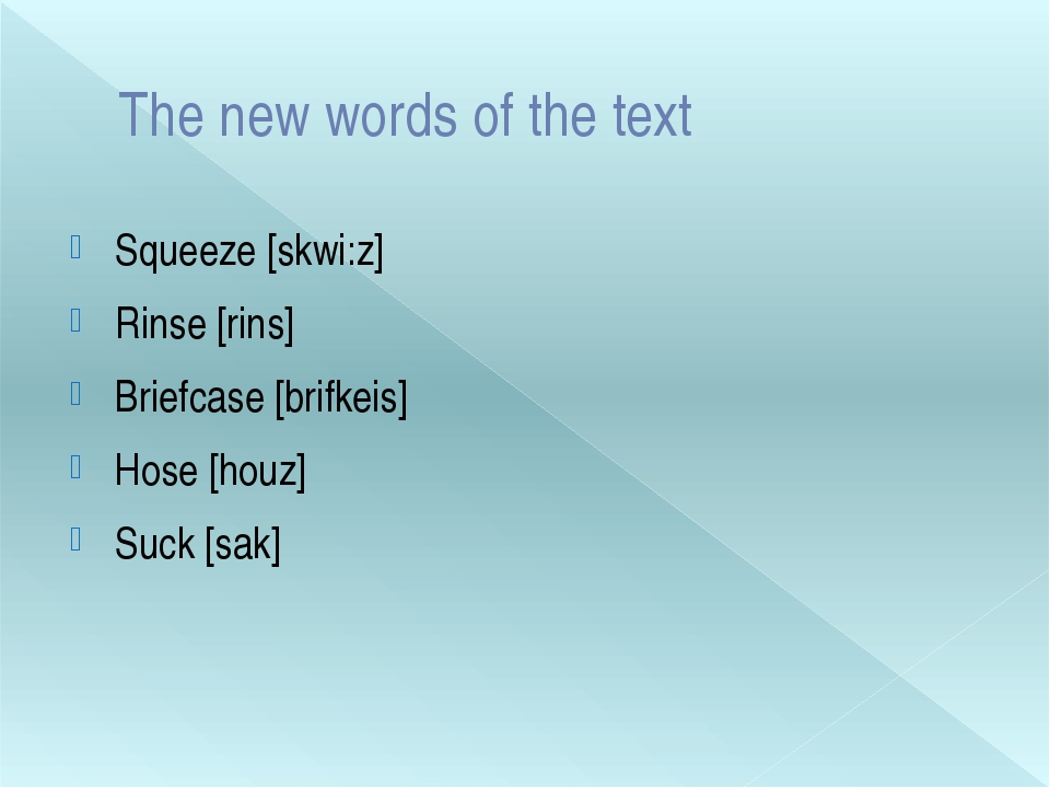 The new words of the text Squeeze [skwi:z] Rinse [rins] Briefcase [brifkeis]...