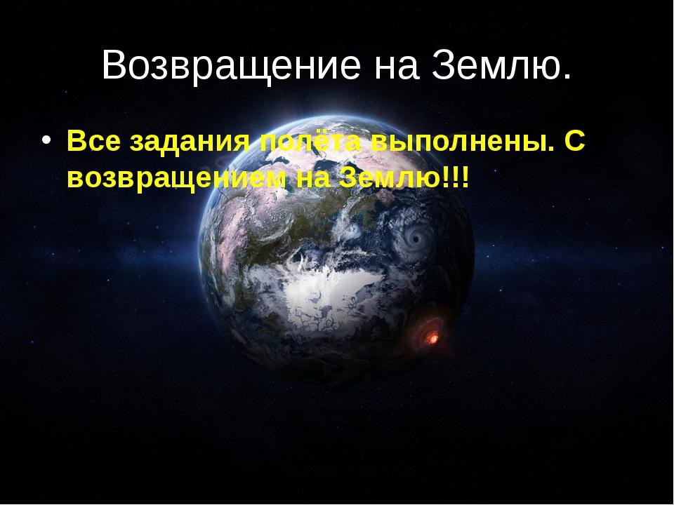 Возвращение на Землю. Все задания полёта выполнены. С возвращением на Землю!!!