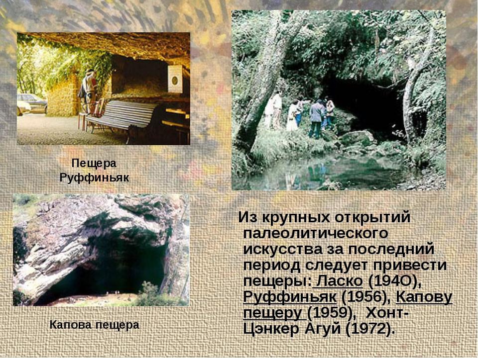 Из крупных открытий палеолитического искусства за последний период следует п...
