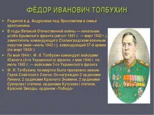 ФЁДОР ИВАНОВИЧ ТОЛБУХИН Родился в д.Андроники под Ярославлем в семье крестья