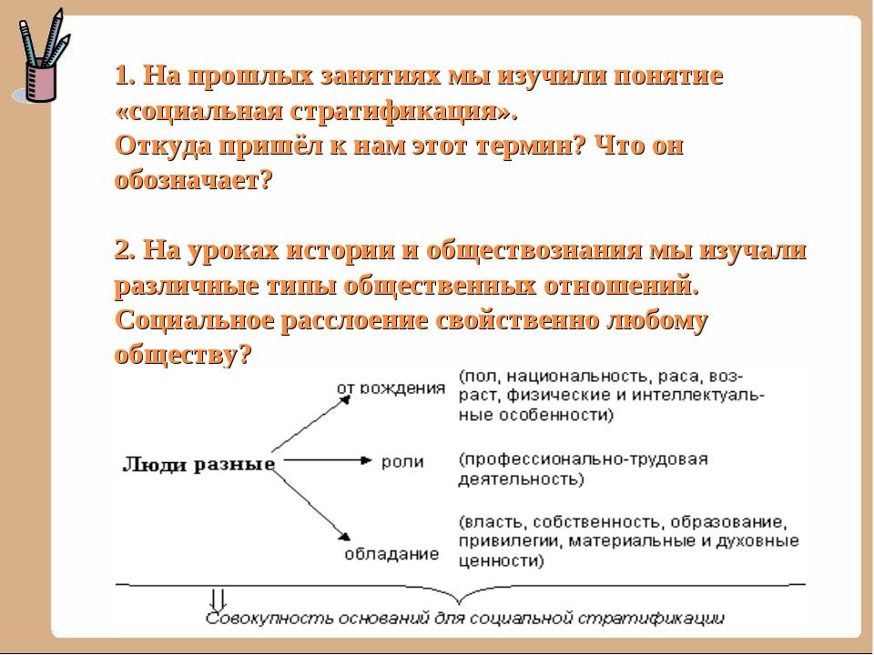 1. На прошлых занятиях мы изучили понятие «социальная стратификация». Откуда...