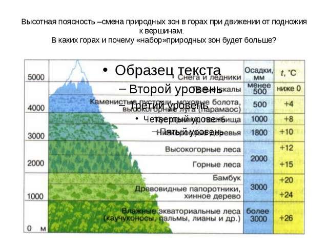 Высотная поясность –смена природных зон в горах при движении от подножия к ве...