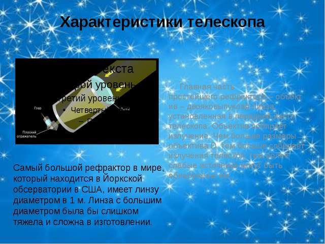 Характеристики телескопа Главная часть простейшегорефрактора–объектив– дв...