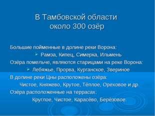 В Тамбовской области около 300 озёр Большие пойменные в долине реки Ворона: Р