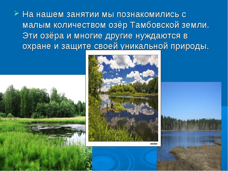 На нашем занятии мы познакомились с малым количеством озёр Тамбовской земли....