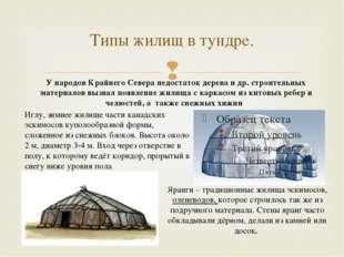 Типы жилищ в тундре. Иглу, зимнее жилище части канадских эскимосов куполообра