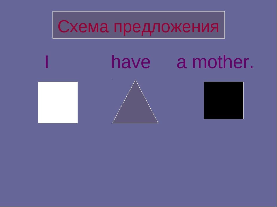 Схема предложения I have a mother.