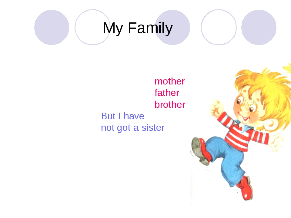 My Family I have got a mother I have got a father I have got a brother But I...