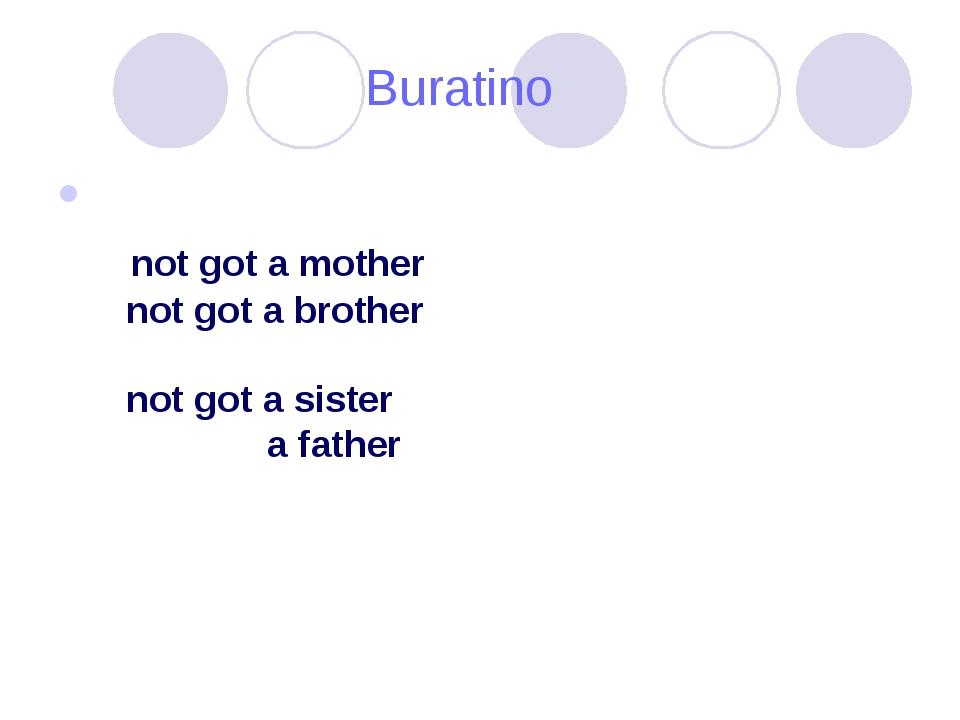 Buratino I have not got a mother I have not got a brother I have not got a s...