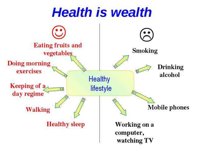 Healthy lifestyle   Eating fruits and vegetables Doing morning exercises Ke...