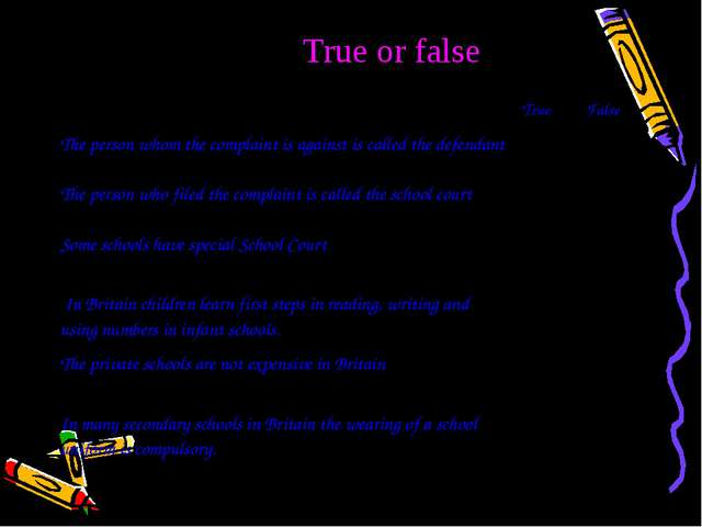 True or false True False The person whom the complaint is against is called...