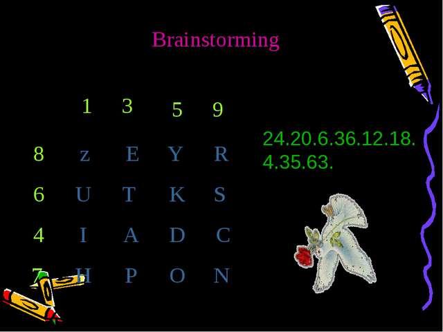 Brainstorming 1 3 5 9 8 6 4 7 z E Y R U T K S I A D C H P O N 24.20.6.36.12.1...