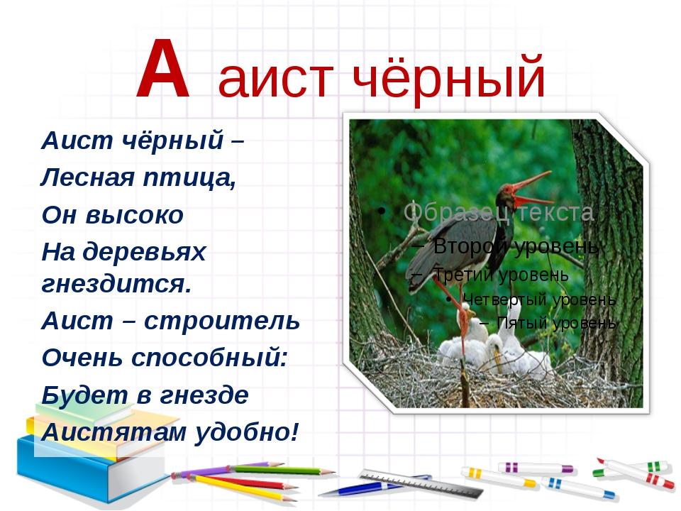 А аист чёрный Аист чёрный – Лесная птица, Он высоко На деревьях гнездится. Аи...