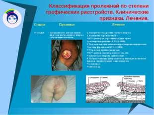 Классификация пролежней по степени трофических расстройств. Клинические призн